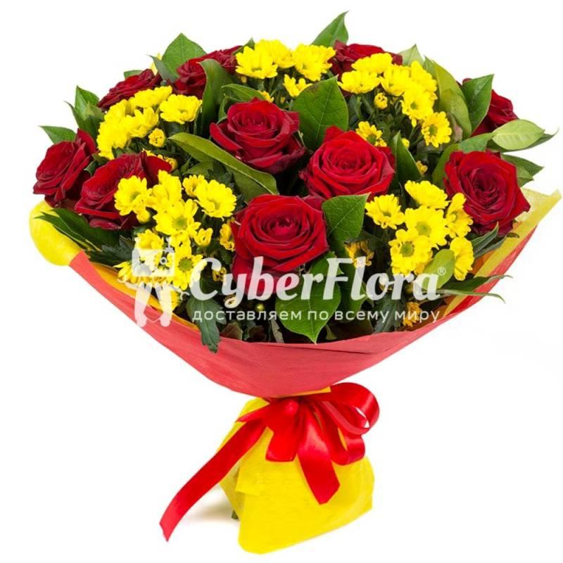 Желтый букет из хризантем и альстромерий букеты с доставкой по ... | 800x800